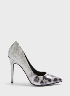 Womens Wide Fit Caterina Silver Court Shoes, SILVER