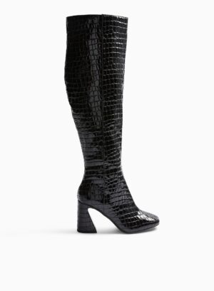Womens Black Oval Croc Flared Heel Over The Knee Boots, BLACK