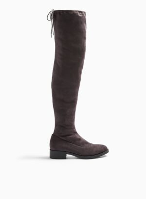 Womens Olivia Grey Flat Over The Knee Boots, DARK GREY