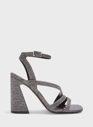 Womens Solo Silver Flared Heel Strap Sandals, SILVER
