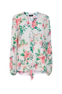 **Tall Ivory Floral Print Tie Front Blouse, Ivory