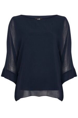 Petite Navy Overlayer Top, Navy