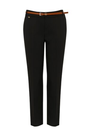 Petite Black Belted Cigarette Trouser, Black