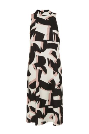 Petite Monochrome Colourblock High Neck Midi Dress, Pale Pink