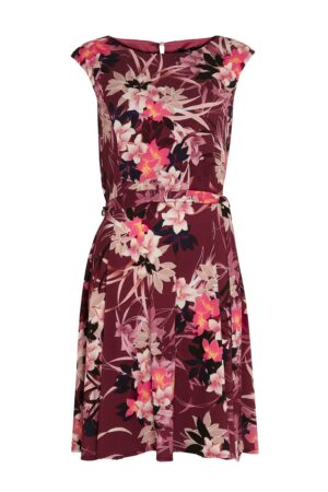 Berry Floral Print Dress, Purple
