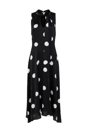 Black Polka Dot Keyhole Midi Dress, Black