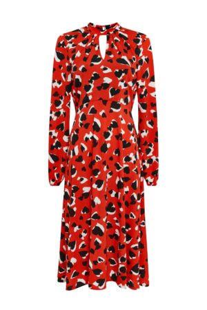 Red Heart Print Midi Dress, Claret