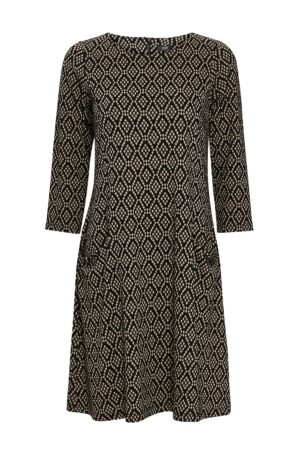 Stone Geometric Print Jacquard Swing Dress, Stone