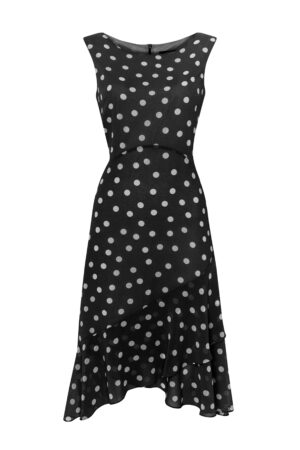 Black Polka Dot Fit And Flare Dress, Black