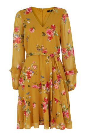 Yellow Floral Print Ruffle Sleeve Dress, Mustard