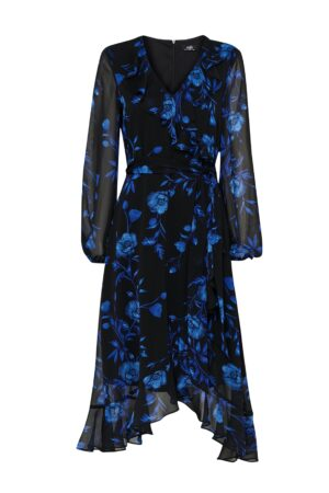 Blue Floral Print Ruffle Midi Dress, Blue