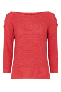 Coral Button Detail Jumper, Pink