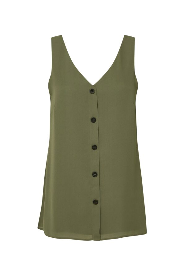 Khaki Button Through Cami Top, Khaki