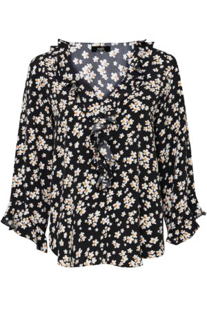 Black Daisy Ruffle Blouse, Black