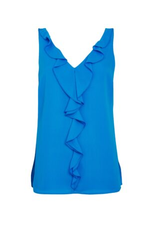 Blue Ruffle Front Camisole Top, Blue
