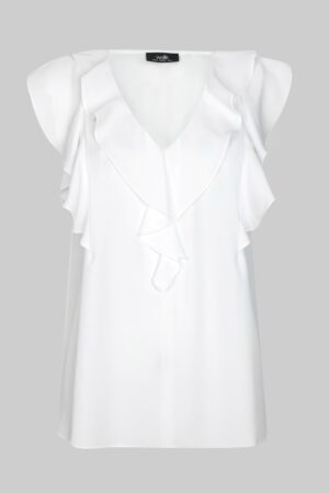 Ivory Ruffle Front Top, Ivory
