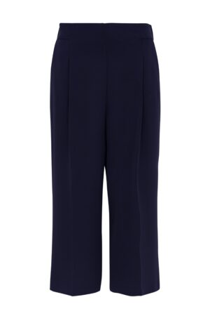 Navy Pleated Cropped Trouser, Navy