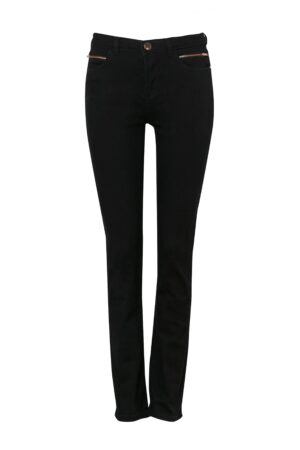 Black Zip Detail Straight Leg Jean, Black