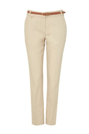 Stone Belted Cigarette Trouser, Stone