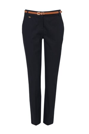 Navy Belted Cigarette Trouser, Navy