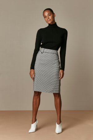 Monochrome Gingham Print Pencil Skirt, Black