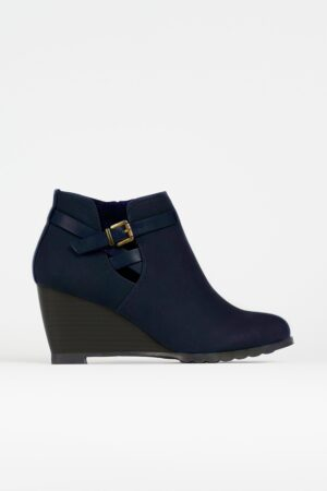 Navy Buckle Wedge Ankle Boot, Navy