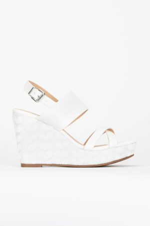 White Textile Covered Wedge, White