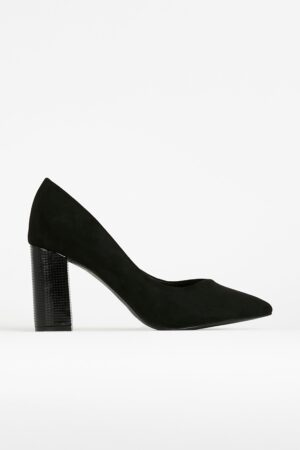 **Wide Fit Black Pointed Court Shoe, Black