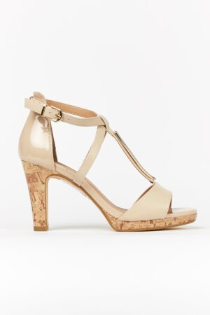 **Wide Fit Nude Strap Heeled Sandal, Nude