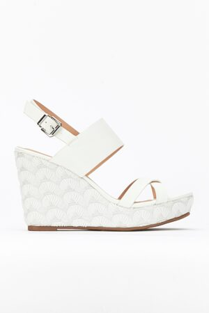 White Lace Effect Wedge Sandal, White