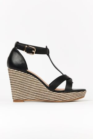 **Wide Fit Black Textured Wedge Sandal, Black