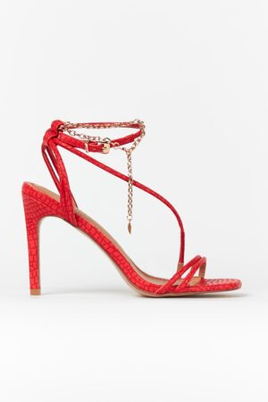 Red Ankle Chain Strap Heel, Red