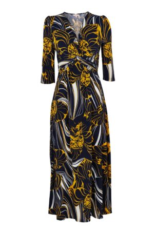 **Jolie Moi Navy Floral Print Midi Dress, Blue