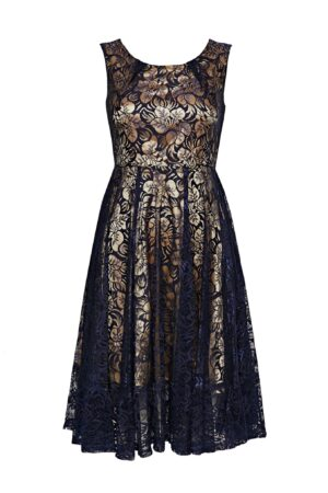 **Jolie Moi Navy Contrast Lace Midi Fit And Flare Dress, Navy
