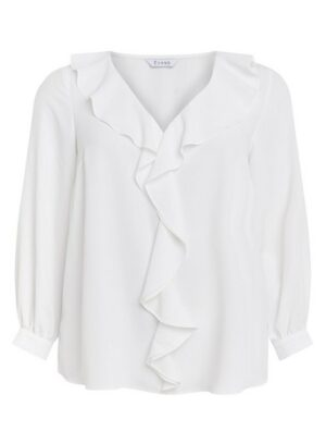 Ivory Frill Long Sleeve Top, White