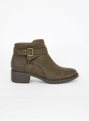 Wide Fit Brown Strap Buckle Ankle Boots, Taupe