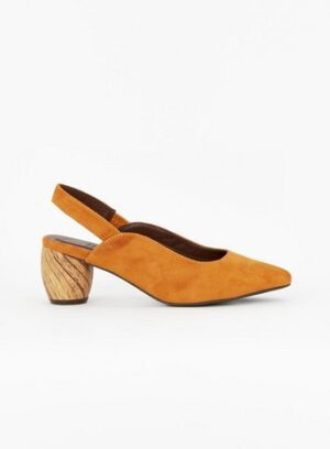 Wide Fit Yellow Wood Heel Slingback Shoes, Mustard