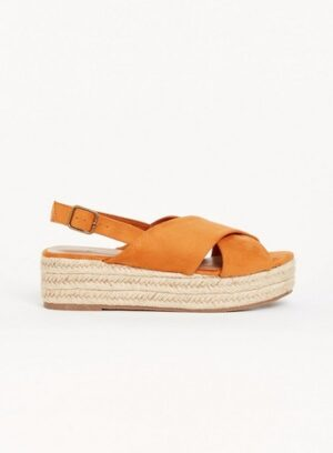 Extra Wide Fit Yellow Flatform Espadrilles, Orange