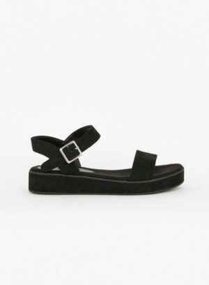 Extra Wide Fit Black Flatform Sandals, Black