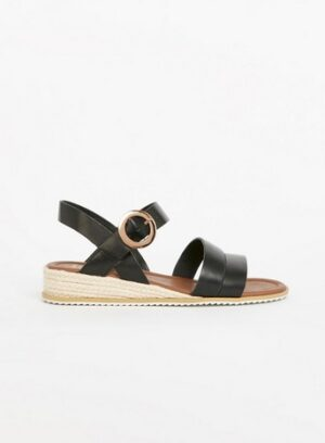 Wide Fit Black Low Wedge Sandals, Black