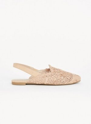 Extra Wide Fit Neutral Weave Slingbacks Shoes, Beige/Natural