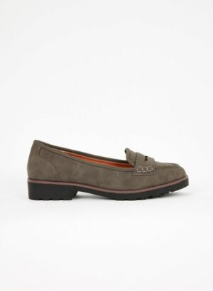 Extra Wide Fit Grey Loafers, Grey