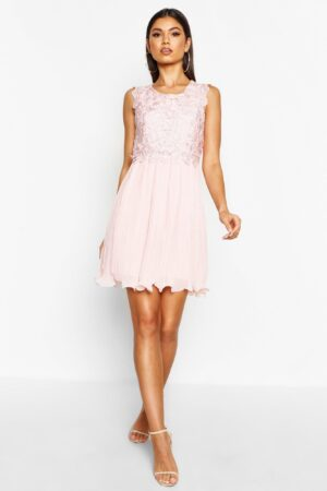 Womens Boutique Corded Lace Pleated Skater Dress - Pink - 10, Pink