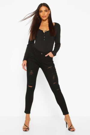 Womens Low Rise Heavy Ripped Skinny Jeans - Black - 6, Black
