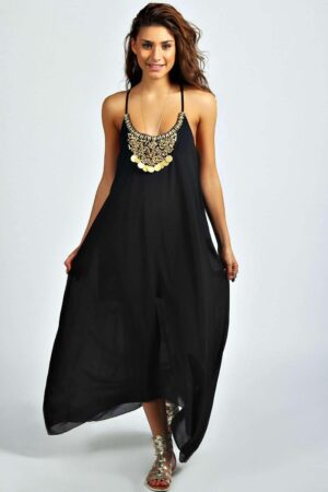 Womens Beaded Necklace Dip Hem Maxi Dress - Black - 14, Black