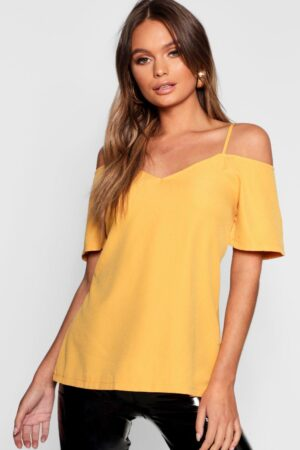 Womens Woven Strappy Open Shoulder Top - Yellow - 8, Yellow