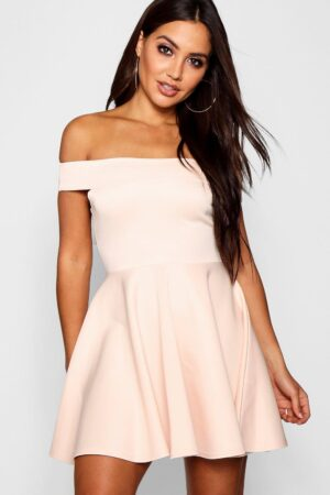 Womens Off The Shoulder Skater Dress - Pink - 8, Pink