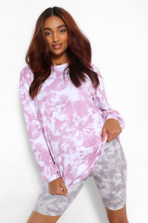 Womens Maternity Tie Dye Oversize T-Shirt Dress - Pink - 16, Pink