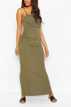 Womens Maternity Scoop Neck Tie Front Maxi Dress - Green - 12, Green