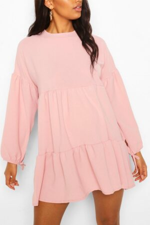Womens Maternity Tiered Tie Sleeve Smock Dress - Pink - 8, Pink
